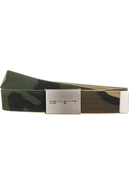 Carhartt WIP Gürtel Clip Belt Chrome camo-laurel Vorderansicht