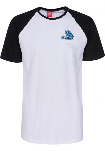 Santa-Cruz T-Shirts Screaming Pocket Raglan black-white Vorderansicht