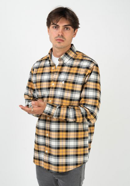 Carhartt WIP Hemden langarm Steen steencheck-wintersun vorderansicht 0412061