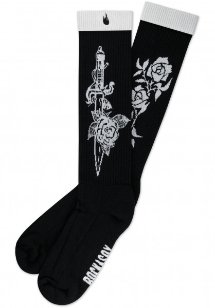 Rockasox Socken The Hardest Life black-white Vorderansicht
