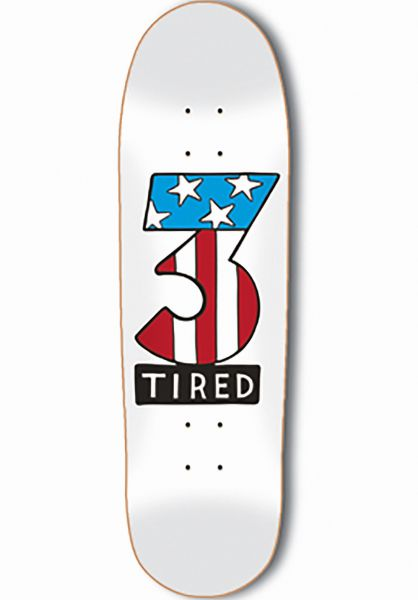 Tired Skateboard Decks Number Three on Deal white Vorderansicht