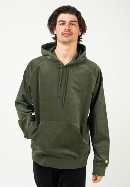 Carhartt WIP Hoodies Hooded Cord Sweatshirt dollargreen-gold vorderansicht 0446277
