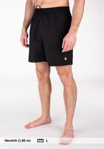 Carhartt WIP Beachwear Chase Swim Trunk black-gold vorderansicht 0205282