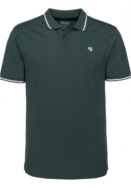 TITUS Polo-Shirts Johann bottlegreen-white Vorderansicht