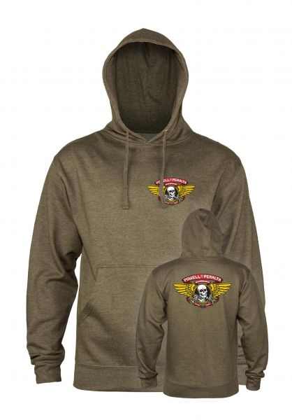 Powell-Peralta Hoodies Winged Ripper Medium Weight armyheather vorderansicht 0444689