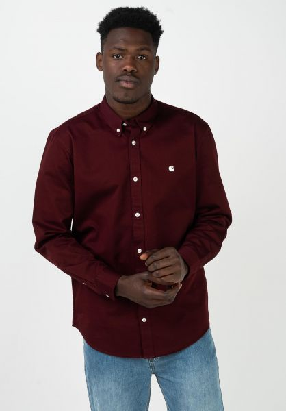Carhartt WIP Hemden langarm Madison bordeaux-wax vorderansicht 0411884