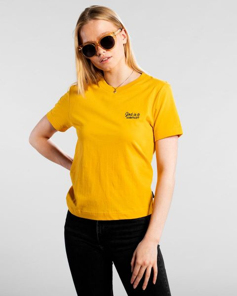 Dedicated T-Shirts God Is A Woman yellow vorderansicht 0321061