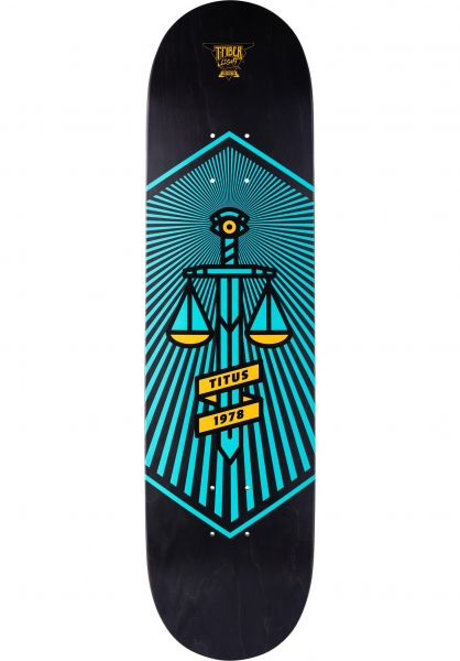 TITUS Skateboard Decks Justice T-Fiber Light black-turquoise Vorderansicht 0260076