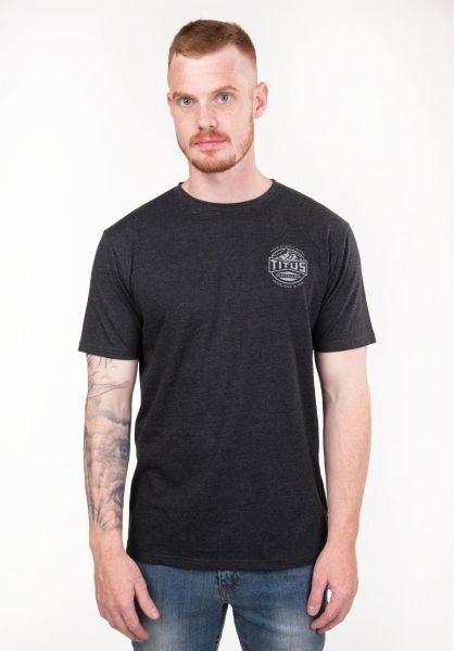 3927336b4ba0e1 TITUS T-Shirts Mountain-Backprint darkgreymottled vorderansicht 0397513
