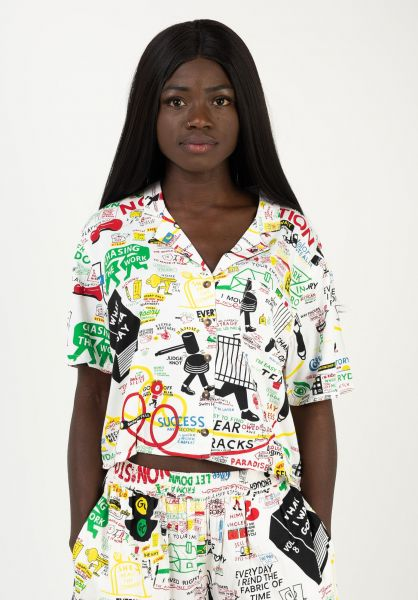 RVCA Hemden kurzarm Espo Vacay white vorderansicht 0401031