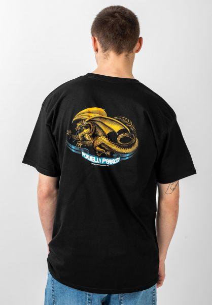 Powell-Peralta T-Shirts Oval Dragon black vorderansicht 0037557