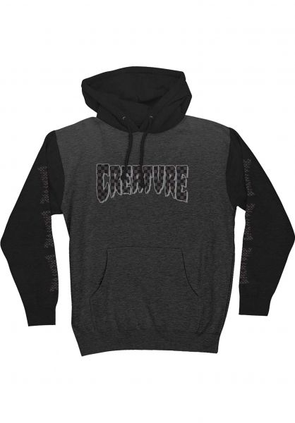 Creature Hoodies Logo Check charcoalheather-black vorderansicht 0445588