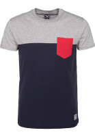 iriedaily T-Shirts Block Pocket 2 blue-red Vorderansicht