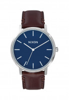 Nixon-Uhren-The-Porter-Leather-navy-brown-Vorderansicht