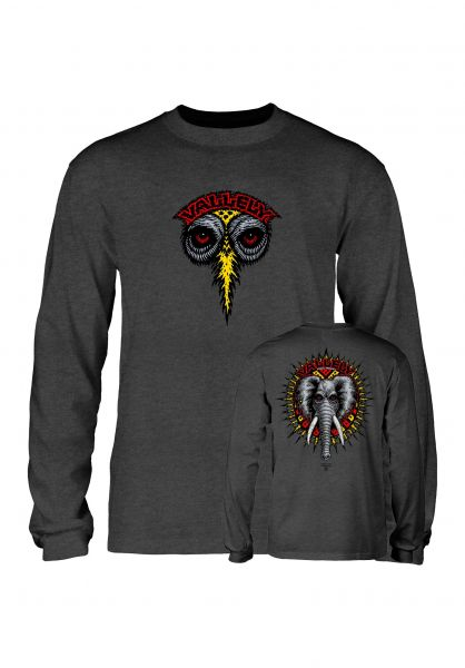 Powell-Peralta Longsleeves Vallely Elephant charcoal-heather vorderansicht 0383430