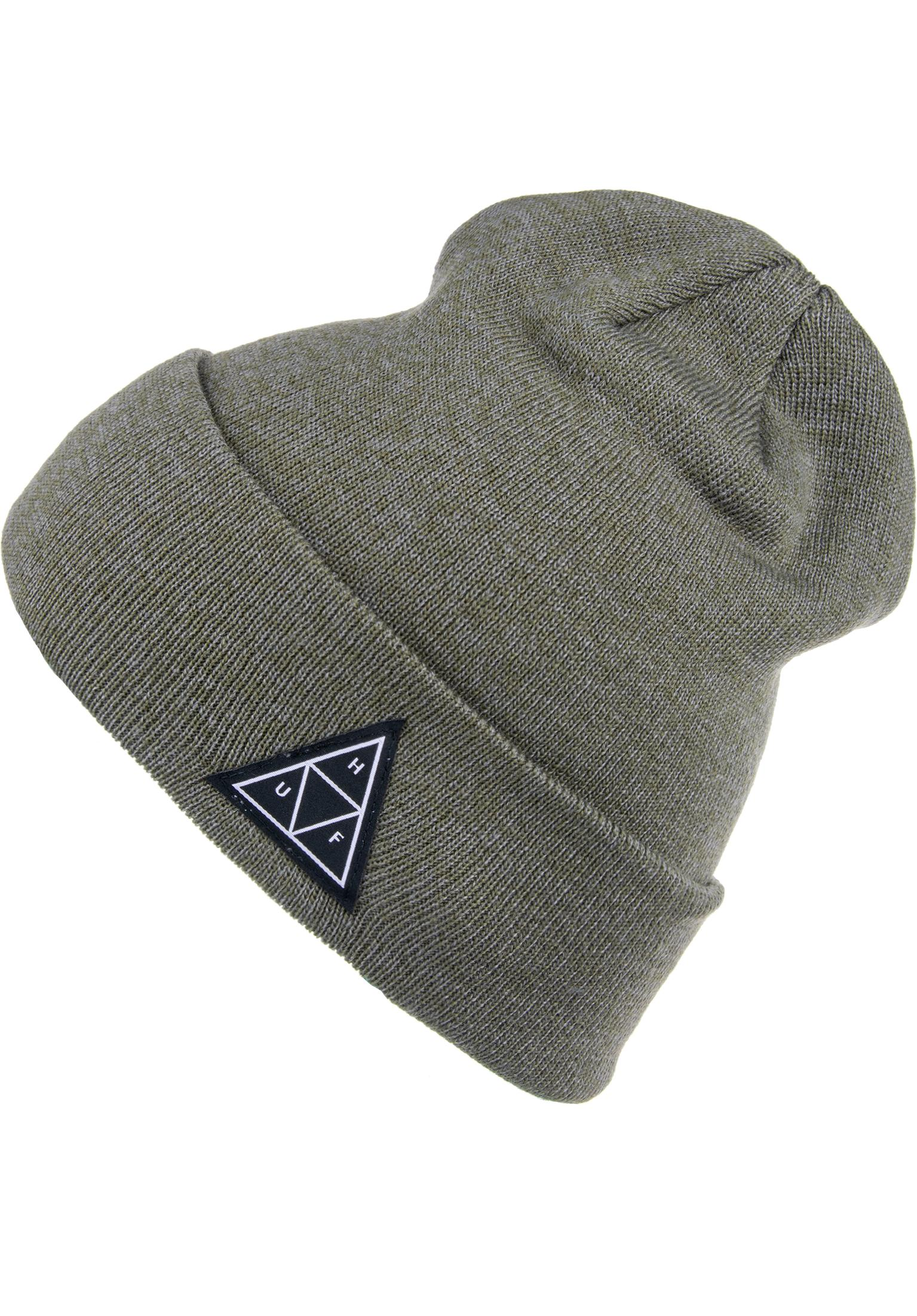 f09541535b8b8 Triple Triangle HUF Beanies in deepolive for Men