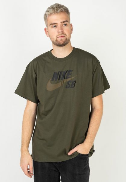 Nike SB T-Shirts DFT Icon Logo cargokhaki-yukonbrown vorderansicht 0394809