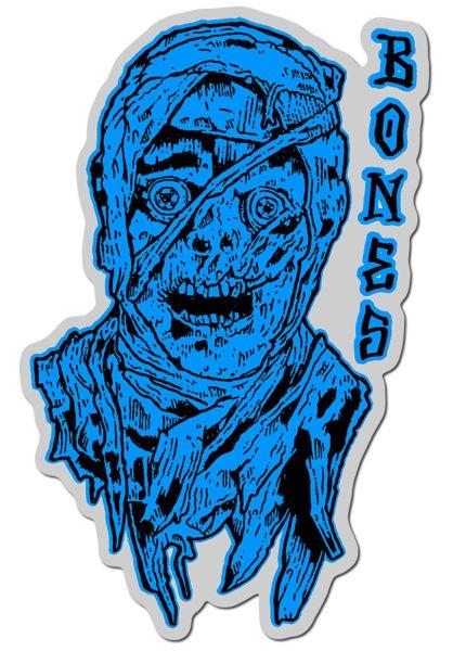 """Bones Wheels Verschiedenes Time Beasts Mummy 4"""" Sticker blue vorderansicht 0972291"""