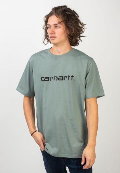 Carhartt WIP T-Shirts Script OG cloudy-black vorderansicht 0397478
