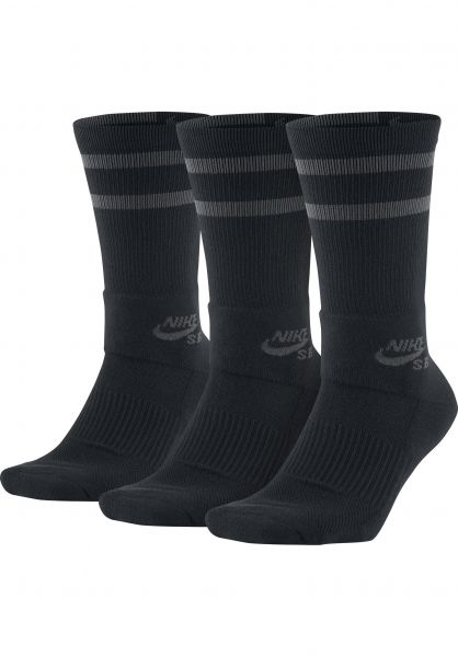 Nike SB Socken Crew Skateboarding 3 Pack black-anthracite Vorderansicht