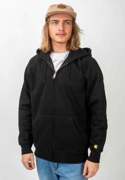 Carhartt WIP Zip-Hoodies Hooded Chase Jacket black-gold vorderansicht 0453004