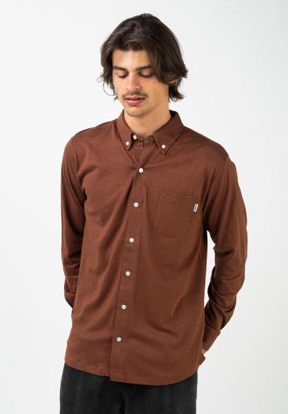 Wemoto Hemden langarm Shaw Mel auburnmelange vorderansicht 0412074