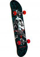 Powell-Peralta Skateboard komplett Skull & Sword one off-red-turquoise-fade Vorderansicht