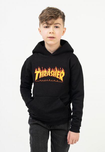 Thrasher Hoodies Flame Kids black vorderansicht 0446219