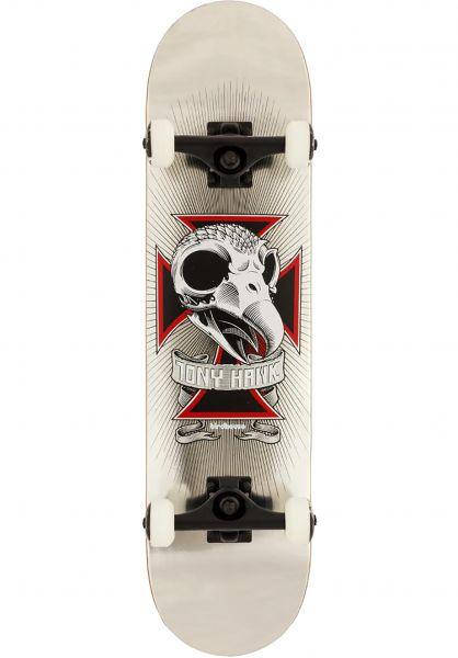 Birdhouse Skateboard komplett Skull 2 silver Vorderansicht
