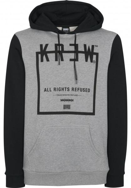 KR3W Hoodies Squared greyheather-black Vorderansicht