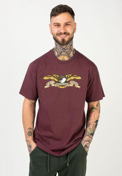 Anti Hero T-Shirts Eagle maroon vorderansicht 0036324