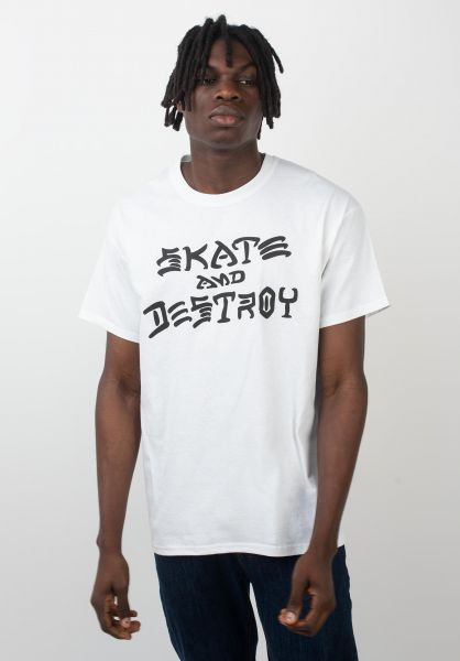 Thrasher T-Shirts Skate and Destroy white vorderansicht 0037259