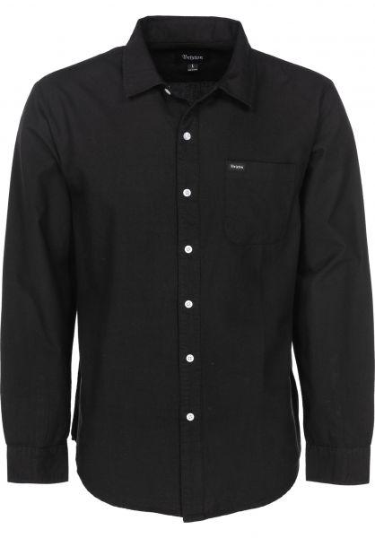 Brixton Hemden langarm Charter Oxford black Vorderansicht