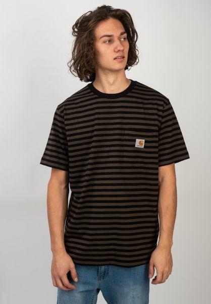 Carhartt WIP T-Shirts Haldon Pocket haldonstripe-black-cypress vorderansicht 0320609