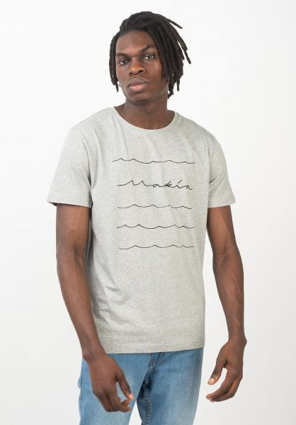 Makia T-Shirts Waves grey vorderansicht 0320693