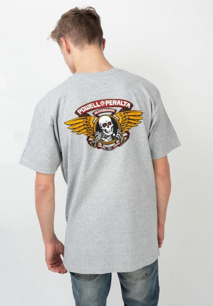 Powell-Peralta T-Shirts Winged Ripper greymottled vorderansicht 0360934