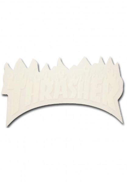 Thrasher Verschiedenes Flame Sticker Small white Vorderansicht