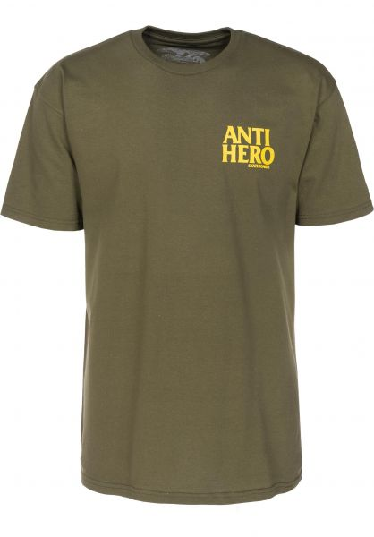 Anti-Hero T-Shirts Lil Blackhero militarygreen-yellow Vorderansicht