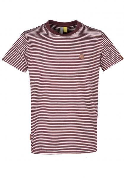 alife and kickin T-Shirts Nic A burgundystripes vorderansicht 0399930