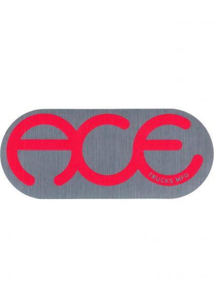 """Ace Verschiedenes Rings Logo Sticker 6"""" silver-red vorderansicht 0971865"""