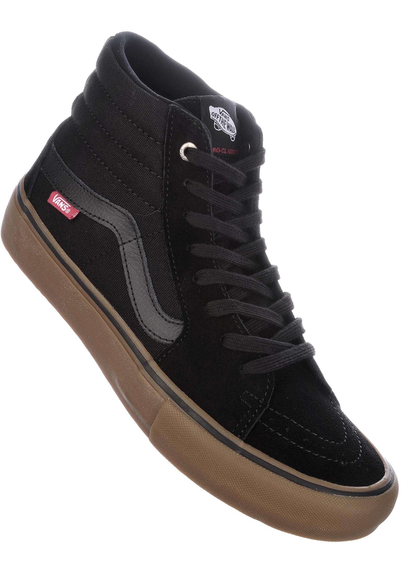 70368d96424 Sk8 Hi Pro Vans All Shoes in black-gum for Men