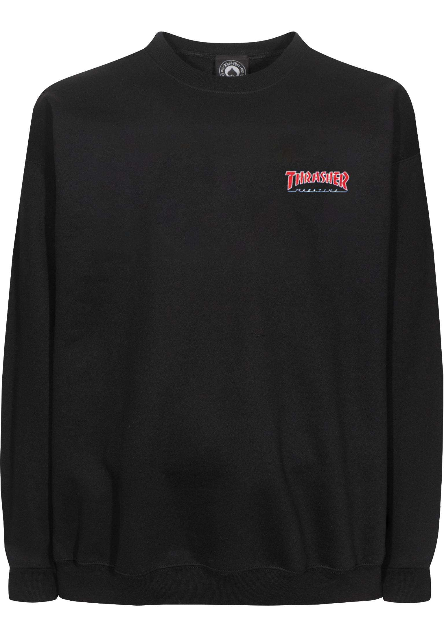 a7a6ba0ee04e Outlined Embroidered LS Thrasher Longsleeves in black for Men | Titus
