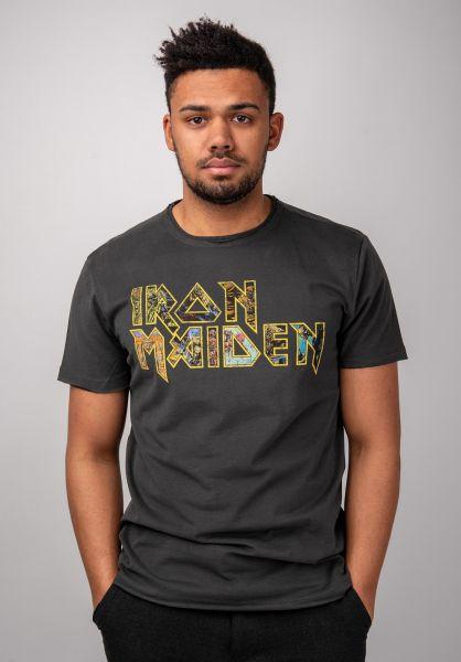 Amplified T-Shirts Iron Maiden Eddies Logo charcoal vorderansicht 0399943