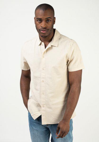 Rhythm Hemden kurzarm Classic Linen Shirt sand vorderansicht 0401083