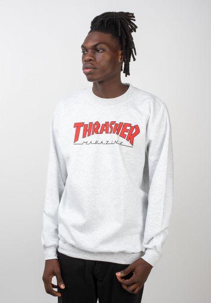 Thrasher Sweatshirts und Pullover Outlined Crewneck ashgrey vorderansicht 0422330