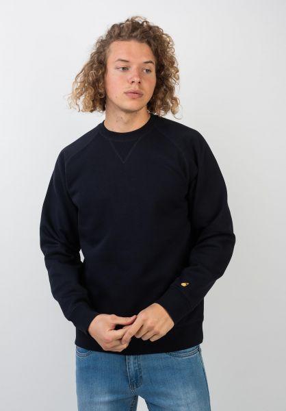 Carhartt WIP Sweatshirts und Pullover Chase darknavy-gold vorderansicht 0420832