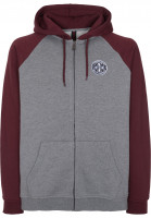 Independent Zip-Hoodies ITC Cross oxblood-darkheather Vorderansicht
