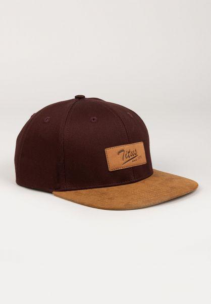 TITUS Caps Steve Leather Snapback burgundy-camel vorderansicht 0565126