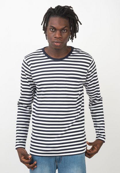 Makia Longsleeves Verkstad Pocket navy-white vorderansicht 0383070
