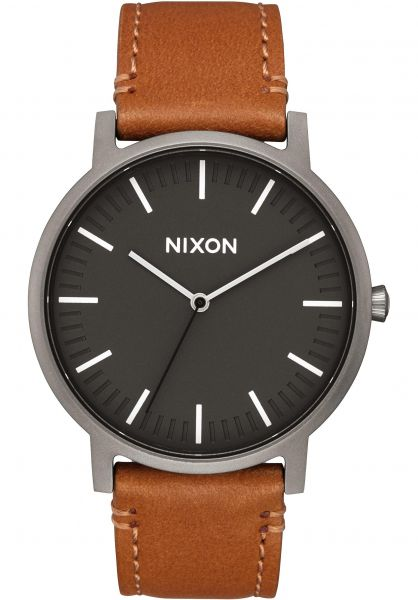 Nixon Uhren The Porter Leather gunmetal-charcoal-taupe Vorderansicht